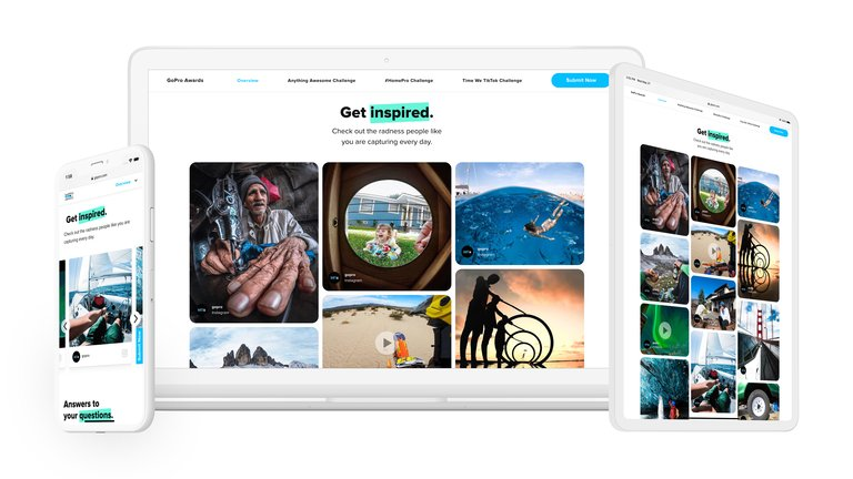 GoPro Awards page and the gallery of Instagram images and videos