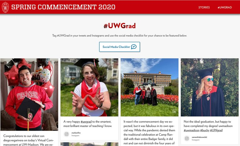 A hashtag feed embedded to the University of Wisconsin website
